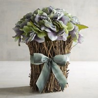 Faux Blue Hydrangea Large Stack Arrangement