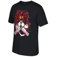 Reebok Corey Crawford Chicago Blackhawks Black 2015 Stanley Cup Playoffs Sticks & Beast T-Shirt