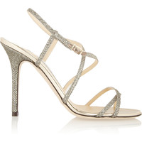 Jimmy Choo - Issey textured-lamé sandals