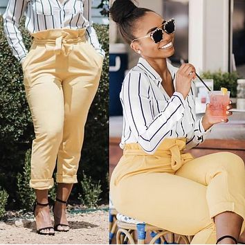 Ruffle Waist Pants Lemon