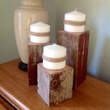 rustic barn wood Candle holder
