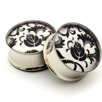 Japanese Flower Picture Plugs gauges - 00g, 1/2, 9/16, 5/8, 3/4, 7/8, 1 inch STYLE 11
