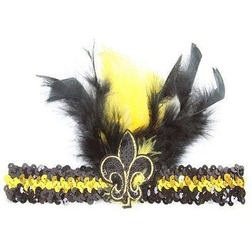 Black and Gold Sequin Feathered Headband