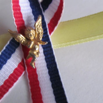 Guardian Angel Brooch Yellow Ribbon Red White and Blue Ribbon Pin Angel Jewelry