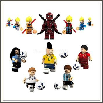 Legoing Figures Anime Dragon Ball Son Goku & Ronaldo Neymar MESSI Cavani Building Blocks Toys For Children World cup football