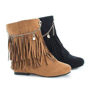 Screan Tan By Styluxe, Children Girls Mid Calf Fringe Charm Chain Flat Boots