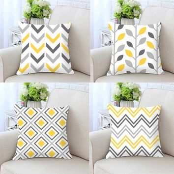 Terrarium Geometric Pillow Case Yellow Home Decor Gray Cushion Cover Vintage Triangle Hipster Pattern Print Throws For Sofa
