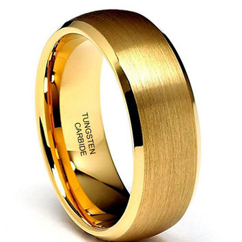 8mm Gold Tone Beveled Tungsten Wedding Band (14k, 18k, 24k Yellow Gold)