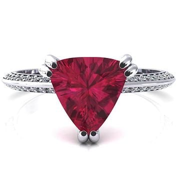 Nancy Trillion Ruby 3 Double Prong 1/2 Eternity Diamond Knife Shank Accent Engagement Ring