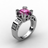 Modern Vintage 14K White Gold 2.0 Carat Princess Pink Sapphire Diamond Solitaire Ring R1023-14KWGDPS
