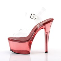 Aspire 608T Red Clear Tint Platform High Heel Ankle Strap Sandal