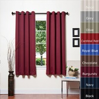 """Best Home Fashion Thermal Insulated Blackout Curtains - Antique Bronze Grommet Top - Burgundy - 52""""W x 63""""L - (Set of 2 Panels)"""