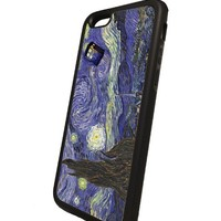 van Gogh Doctor Who Tardis Starry Night Iphone 6 Rubber Case black, Iphone Cover - All Carriers