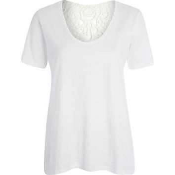 White lace back slouch t-shirt - plain t-shirts / tanks - t shirts / tanks / sweats - women