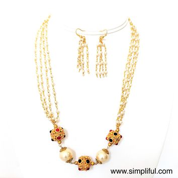 Multi stranded Pearl Chain with Matt finish bead Necklace and Earring set