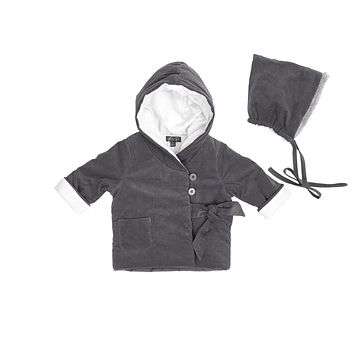Pompomme Baby Grey Puffed Coat & Hat