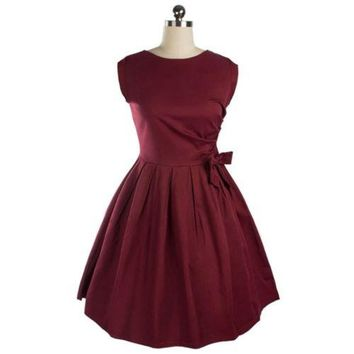 Woman Solid Color Bowknot Bubble Skirt Slim Dress  wine red