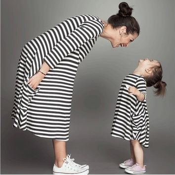 Black & White stripe family matching dress