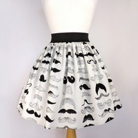 Black & White Mustache Pleated Full Skirt / Moustache Skirt