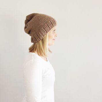 Slouch knit hat, Fall Winter hat, Natural Neutral hat, Rustic Warm Hand Knit Hat, Beige/tan chunky slouch hat, ready to ship