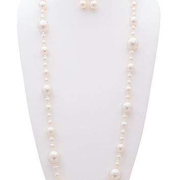 Ellie 3 pcs Pearl Set - 60 Inches Simulated Pearl Necklace, Earrings and Bracelet Set