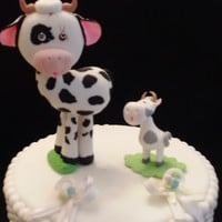 Milk and Cookies Baby Shower, Mommy Cow and Baby Cake Topper, Cow Baby Shower, Cow Mommy and Me Baby Shower, Cow Pink Black Cake Topper, Cow Cake Toppers