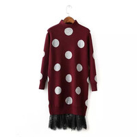 Dots Lace Pattern Knitted Sweater