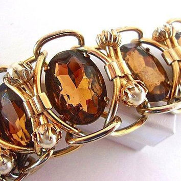 Brown Topaz Glass Huge Bracelet, Gold Tone, Faux Pearls, Heavy Construction, Vintage