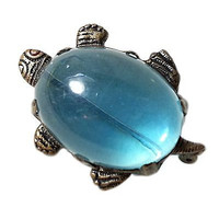 Jelly Belly Turtle Brooch Vintage Lucite Blue Translucent Figural Pin p256