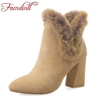 FACNDINLL women snow boots new fashion leather fur autumn winter high heels pointed toe dress shoes woman riding ankle boots