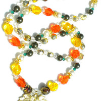 Autumn in the Golden Woods Orange and Yellow Necklace