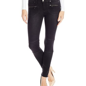 Calvin Klein Jeans Women's Moto Jean with Zipped Pockets in Black Rinse Wash