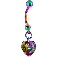 Handcrafted Light Vitrail Preciosa Heart Titanium Belly Ring