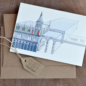 Hand Drawn Thank You Note Cards - Set of 4 Cathedral Cards
