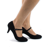 Kirk Black By City Classified, Round Toe Mary Jane Extra Padded Insole Comfort Pumps