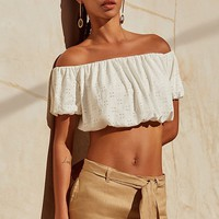 UO Off-The-Shoulder Cropped Eyelet Top | Urban Outfitters