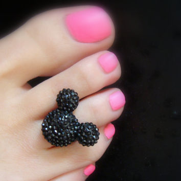 Toe Ring - Black Rhinestones - Resin Mouse Head - Stretch Bead Toe Ring