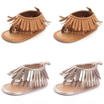 USA Stock Infant Baby Girl Anti-Slip Soft Sole Crib Shoes Tassel Moccasin Sandal