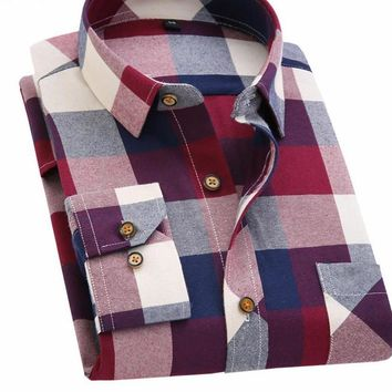 Spring Autumn Flannel Men Plaid Shirt Long Sleeve Men's Warm Casual Shirts British Cotton Mens Check Shirt 14 Design
