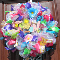 Deco Mesh Spring Wreath, Pink Green Purple Blue Deco Mesh Wreath, Chick Wreath, Flower Wreath, Welcome Spring, Welcome Wreath