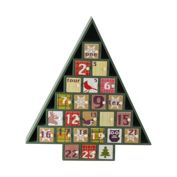 "14"" Rustic Green and Red Plaid Decorative Tree Shaped Advent Christmas Calendar"