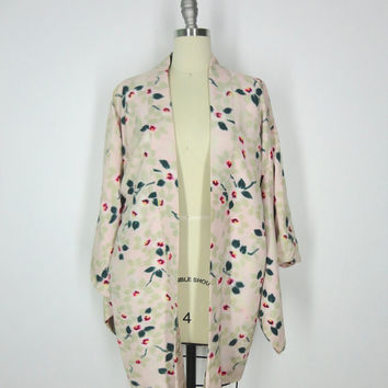 Vintage Kimono Haori / 1960s Pastel Pink Green Floral Print / Short Robe Dressing Gown / Art Deco Gatsby Downton Abbey