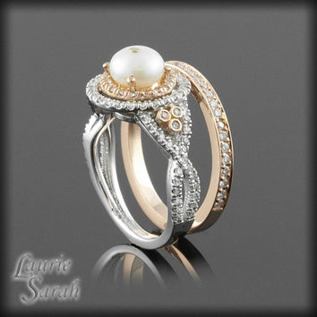 Pearl Wedding Set in 14kt Rose and White Gold with Diamond Double Halo and Twisted Shank - LS2339