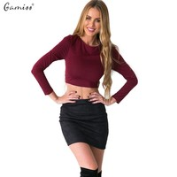 New Arrival Autumn Sexy Knitted Women Short Wine Red T- Shirt Backless Bandage Long Sleeves Woman Black Crop Tops