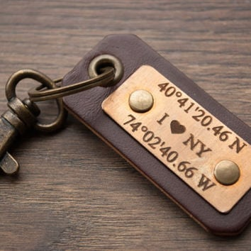BLACK FRIDAY Sale Personalized Leather Keychian, GPS Latitude Longitude Coordinates Keychain with Initial Hand Stamped Graduation Gift