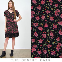 vintage 90s black and pink floral spring / summer dress vintage 1990s floral grunge dress with ruffled hemline