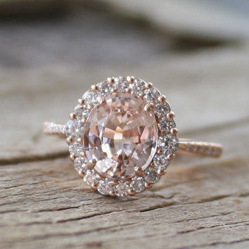 GIA Certified 2.47 Cts. Pastel Peach Champagne Sapphire Diamond Halo Ring in 14K Rose Gold
