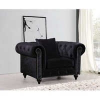 Chesterfield Black Velvet Chair
