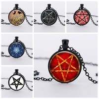 3 colors Red stars witchcraft pendant necklace charms jewelry crystal hidden personality pentagram pendants necklaces