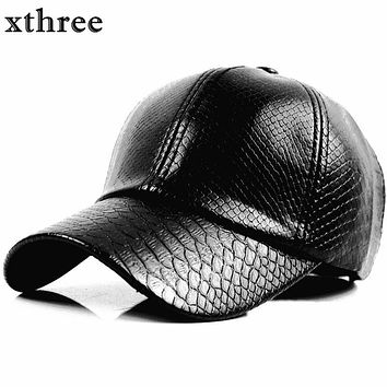 Xthree fashion Baseball Cap women fall faux Leather cap hip hop snapback Hats For men winter hat for women